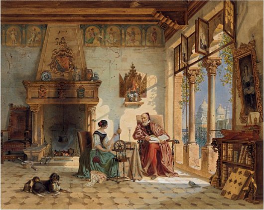 Carl Friedrich Heinrich Werner A Priest And Woman Spinning Yarn In Venetian Interior Pencil Watercolor Bodycolor Gum Arabic 23 5 8 X 29 1 4